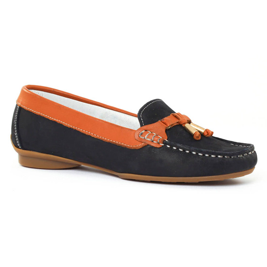 Mocassins Scarlatine 470 Marine Cognac, vue principale de la chaussure femme