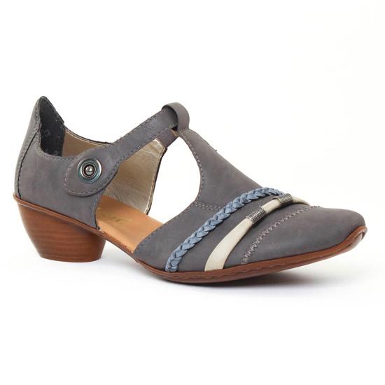 Nu Pieds Et Sandales Rieker 43708 Grey Azur, vue principale de la chaussure femme