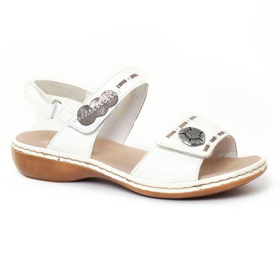 c00ac00403e957 Nu Pieds Et Sandales Rieker 65972 Blanc, vue principale de la chaussure  femme