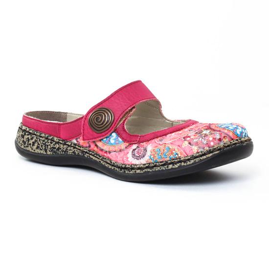 Nu Pieds Et Sandales Rieker 46385 Pink Multi, vue principale de la chaussure femme