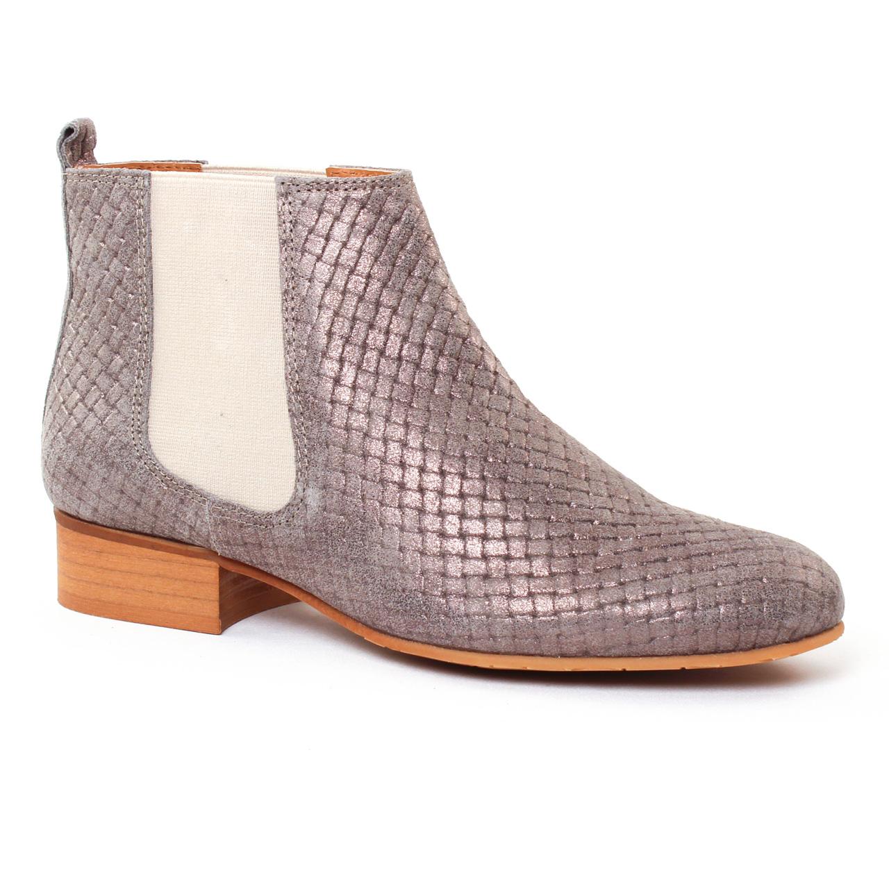 Chaussures femme été 2017 , boots élastiquées Impact gris doré