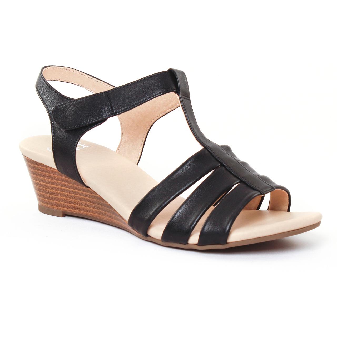 Chaussures femme été 2017 nu pieds compensés Caprice noir