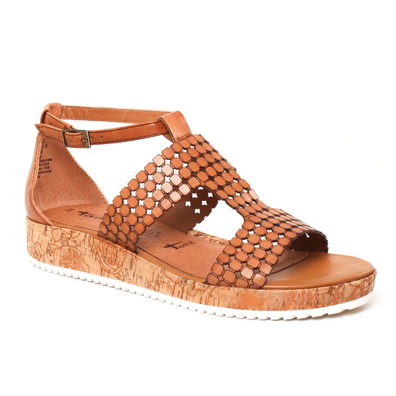 belle et charmante styles frais couleur n brillante Tamaris 28203 Nut | sandale compensées marron printemps été ...
