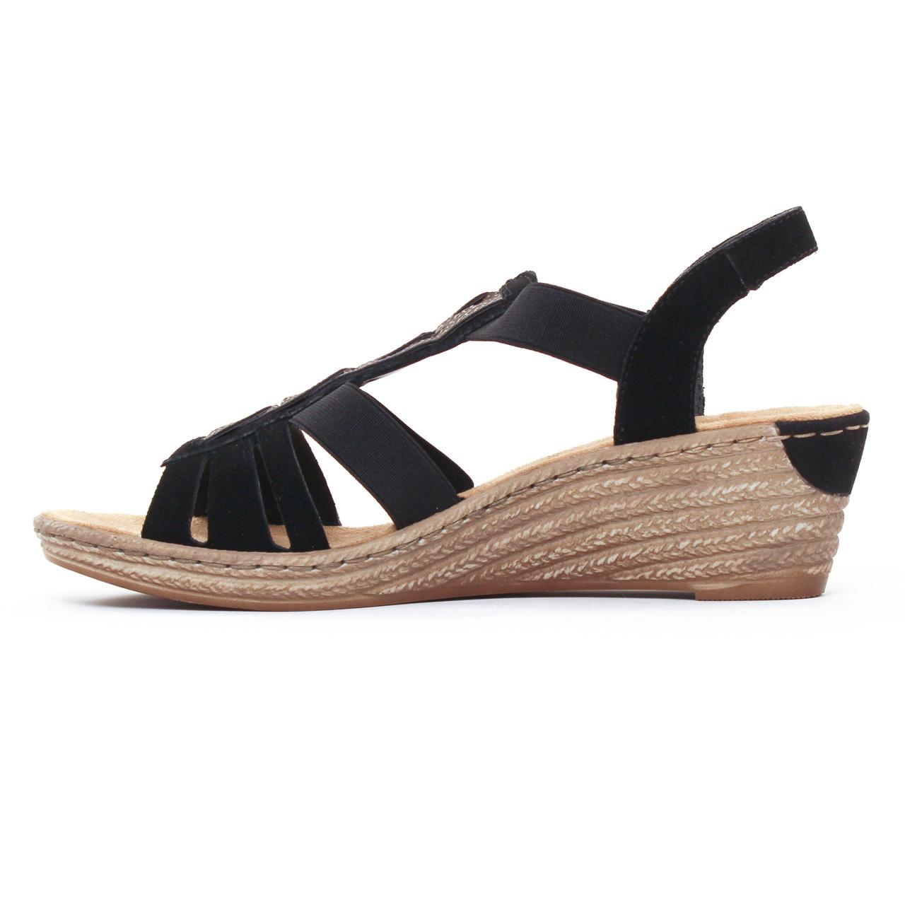 Sandales Compensées Noires Avec Strass Rieker Rieker s9nMkUIp