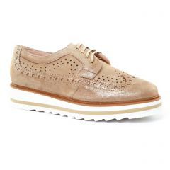 derbys-talons-compenses marron doré: même style de chaussures en ligne pour femmes que les Rieker