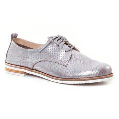 Chaussures femme été 2017 - derbys Caprice gris argent