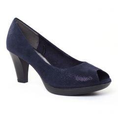 Chaussures femme été 2017 - escarpins bout ouvert marco tozzi bleu marine