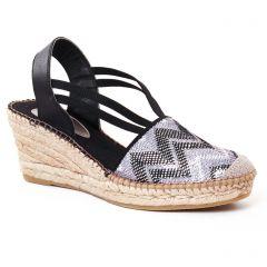 espadrilles-compensees noir argent: même style de chaussures en ligne pour femmes que les Aedo