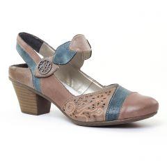 escarpins-trotteur marron beige bleu: même style de chaussures en ligne pour femmes que les Rieker