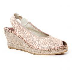 Chaussures femme été 2017 - espadrilles compensées Aedo python beige rose