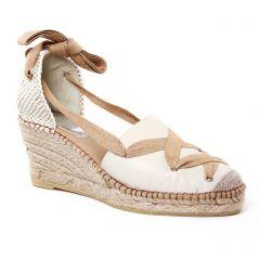 espadrilles-compensees marron beige: même style de chaussures en ligne pour femmes que les Scarlatine