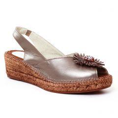 espadrilles-compensees marron doré: même style de chaussures en ligne pour femmes que les Scarlatine