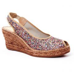 espadrilles-compensees multicolore: même style de chaussures en ligne pour femmes que les Scarlatine