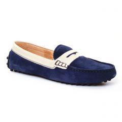 mocassins bleu beige: même style de chaussures en ligne pour femmes que les Tamaris