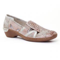 mocassins-trotteurs beige marron doré: même style de chaussures en ligne pour femmes que les Scarlatine