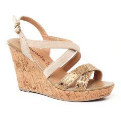 nu-pieds-talons-compenses beige doré: même style de chaussures en ligne pour femmes que les Rieker