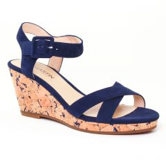 Chaussures femme été 2017 - nu-pieds compensés JB Martin bleu liège