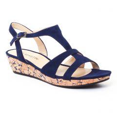 Chaussures femme été 2017 - sandales compensées JB Martin bleu marine