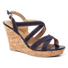 nu-pieds-talons-compenses bleu marine: même style de chaussures en ligne pour femmes que les Fugitive