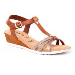 Chaussures femme été 2017 - nu-pieds compensés tamaris marron doré