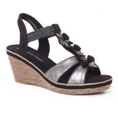 nu-pieds-talons-compenses noir argent: même style de chaussures en ligne pour femmes que les Tamaris