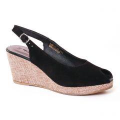 Chaussures femme été 2017 - espadrilles compensées tamaris noir