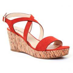nu-pieds-talons-compenses orange rouge: même style de chaussures en ligne pour femmes que les Tamaris