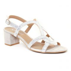 nu-pieds-talon beige argent: même style de chaussures en ligne pour femmes que les Rieker