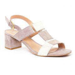 nu-pieds-talon beige blanc: même style de chaussures en ligne pour femmes que les Scarlatine