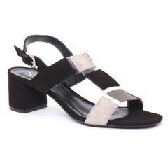 nu-pieds-talon noir gris beige: même style de chaussures en ligne pour femmes que les Scarlatine