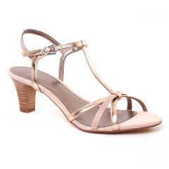 Chaussures femme été 2017 - nu-pieds talon tamaris rose doré