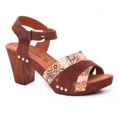 nu-pieds-talons-hauts marron: même style de chaussures en ligne pour femmes que les Scarlatine