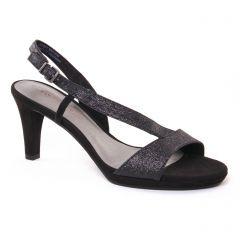nu-pieds-talons-hauts noir argent: même style de chaussures en ligne pour femmes que les Rieker