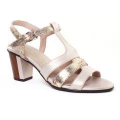 nu-pieds-talons-hauts beige doré: même style de chaussures en ligne pour femmes que les Rieker