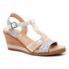 nu-pieds-talons-compenses argent beige: même style de chaussures en ligne pour femmes que les Tamaris