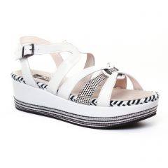 Chaussures femme été 2017 - nu-pieds compensés Mamzelle blanc noir