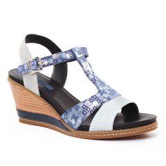nu-pieds-talons-compenses bleu argent: même style de chaussures en ligne pour femmes que les Fugitive