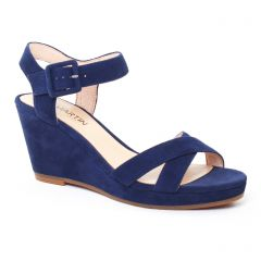 Chaussures femme été 2017 - nu-pieds compensés JB Martin bleu marine