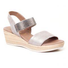 Chaussures femme été 2017 - nu-pieds compensés Dorking gris argent