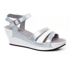 Chaussures femme été 2017 - nu-pieds compensés Mamzelle gris blanc