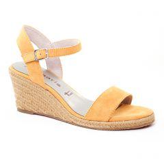 Chaussures femme été 2017 - nu-pieds compensés tamaris jaune