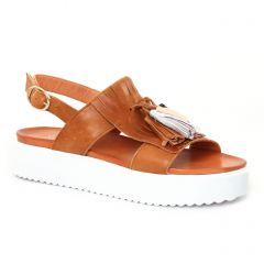 sandales-compensees marron: même style de chaussures en ligne pour femmes que les Scarlatine