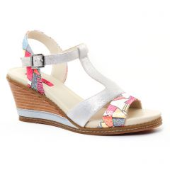 nu-pieds-talons-compenses multicolore: même style de chaussures en ligne pour femmes que les Fugitive