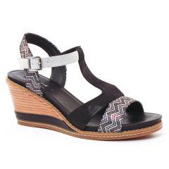 Chaussures femme été 2017 - nu-pieds compensés fugitive noir argent