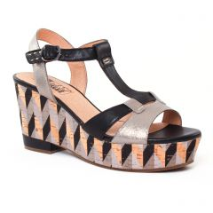 Chaussures femme été 2017 - nu-pieds compensés Mamzelle noir doré