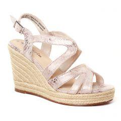 nu-pieds-talons-compenses rose doré: même style de chaussures en ligne pour femmes que les Scarlatine