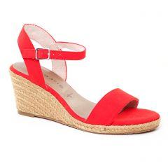 nu-pieds-talons-compenses rouge: même style de chaussures en ligne pour femmes que les Rieker
