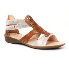 Chaussures femme été 2017 - sandales Dorking marron doré