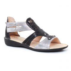 Chaussures femme été 2017 - sandales Dorking noir argent