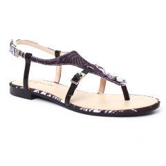 sandales noir gris blanc: même style de chaussures en ligne pour femmes que les Les Tropéziennes
